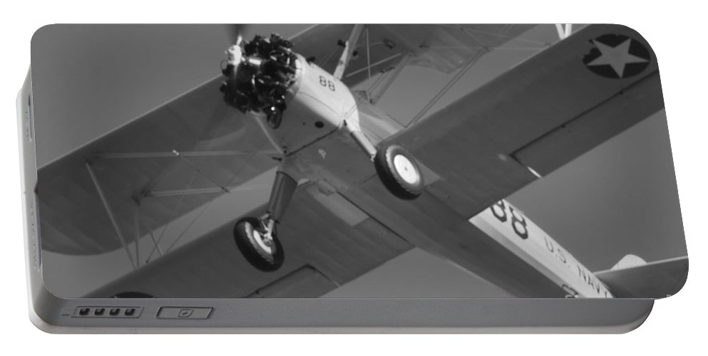 Black And White Portable Battery Charger featuring the photograph Stearman Trainer Bi Plane Black And White by Thomas Woolworth