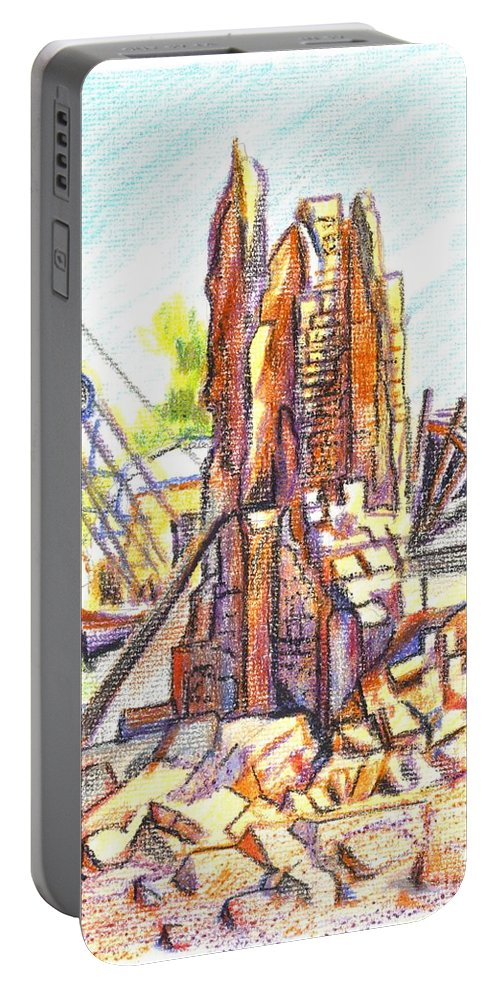 Wrecking Ball Portable Battery Charger featuring the painting Wrecking Ball by Kip DeVore