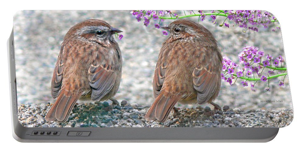 Wren Portable Battery Charger featuring the photograph Wren Bird Sweethearts by Jennie Marie Schell