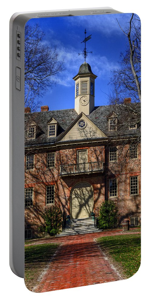 William And Mary Portable Battery Charger featuring the photograph Wren Building Main Entrance by Jerry Gammon