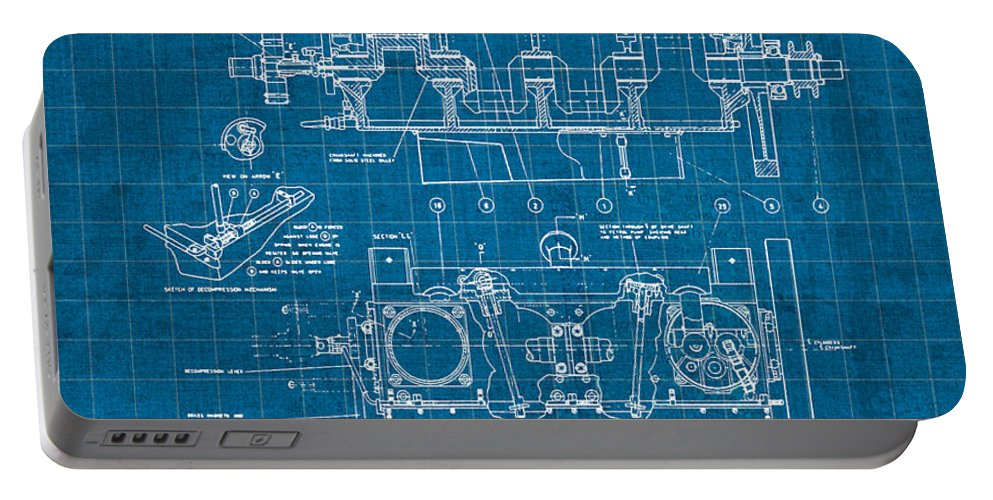 Wright Portable Battery Charger featuring the mixed media Wright Brothers Aero Engine Vintage Patent Blueprint by Design Turnpike