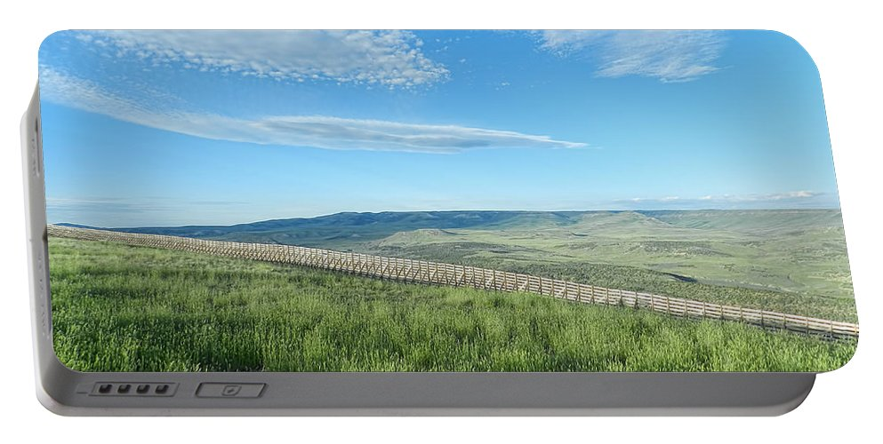 Wyoming Portable Battery Charger featuring the photograph Wyoming Snow Fence by Cathy Anderson