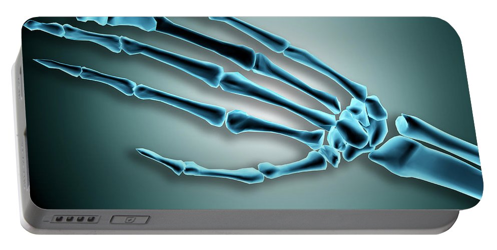 Horizontal Portable Battery Charger featuring the digital art X-ray View Of Bones In Human Hand by Stocktrek Images