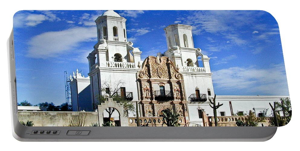 Mission San Xavier Del Bac Portable Battery Charger featuring the photograph Xavier Tucson Arizona by Douglas Barnett