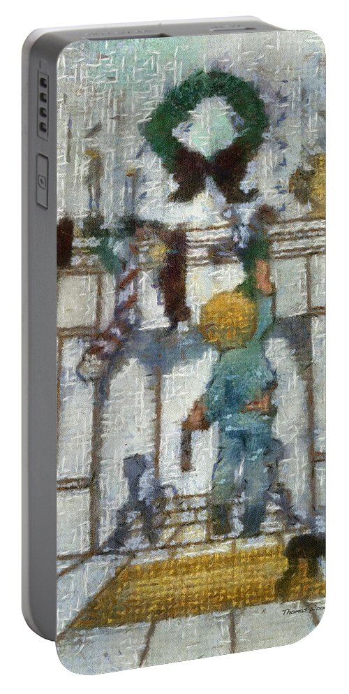 Stocking Portable Battery Charger featuring the photograph Xmas Little Boy With His Stocking Photo Art by Thomas Woolworth