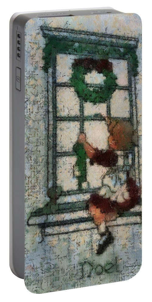 Girl Portable Battery Charger featuring the photograph Xmas Little Girl With Wreath Photo Art by Thomas Woolworth