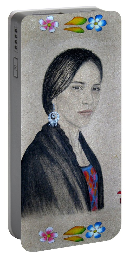 Flower Portable Battery Charger featuring the painting Xochitl by Lynet McDonald