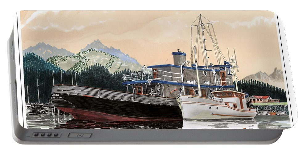Yacht Portraits Portable Battery Charger featuring the painting Alaskan Sunrise by Jack Pumphrey