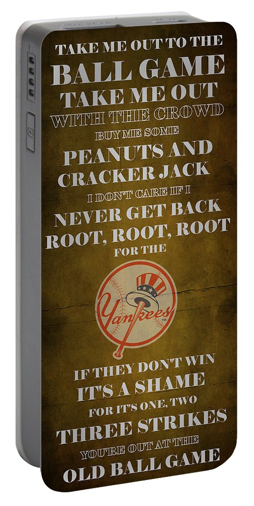 Yankees Portable Battery Charger featuring the digital art Yankees Peanuts And Cracker Jack by Movie Poster Prints