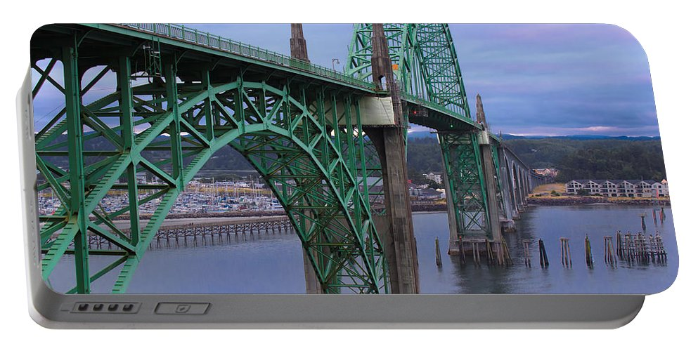 Bridge Portable Battery Charger featuring the photograph Yaquina Bay Bridge by Chris Steele