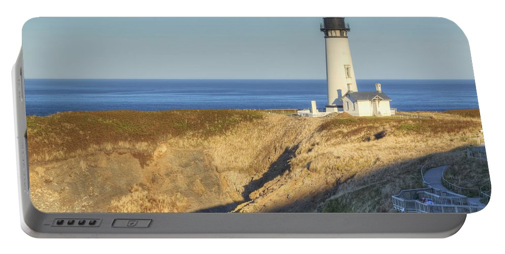 Yaquina Portable Battery Charger featuring the photograph Yaquina Head Lighthouse 4 G by John Brueske
