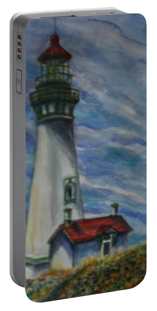 Quin Sweetman Portable Battery Charger featuring the painting Yaquina Head Lighthouse Original Painting by Quin Sweetman