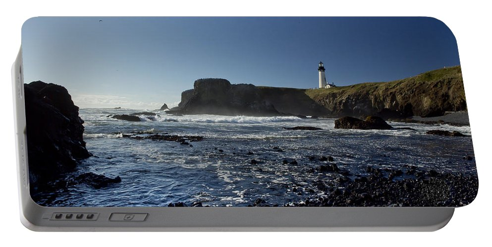 Lighthouse Portable Battery Charger featuring the photograph Yaquina Lighthouse And Beach No 1 by Belinda Greb