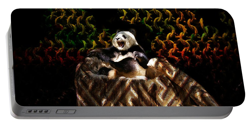 Yawning Portable Battery Charger featuring the photograph Yawning Panda by Mariola Bitner