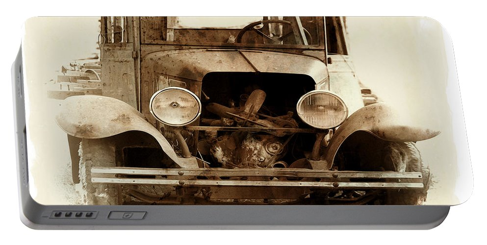 Truck Portable Battery Charger featuring the photograph Years In The Mist by Terry Fiala