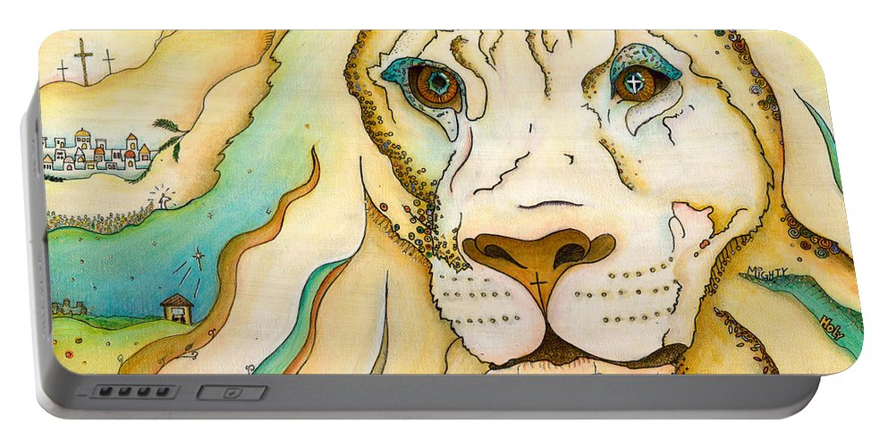 Lion Portable Battery Charger featuring the painting Yehuda by Margarita Puckett