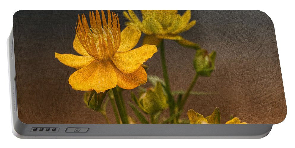Flower Portable Battery Charger featuring the photograph Yellow Aged Floral by Deborah Benoit