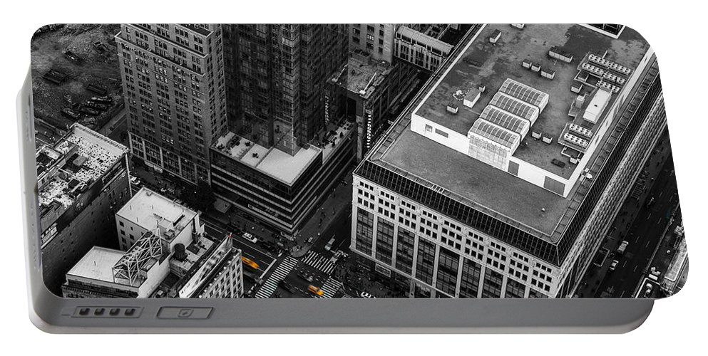 Nyc Portable Battery Charger featuring the photograph Yellow Cabs - Bird's Eye View by Hannes Cmarits