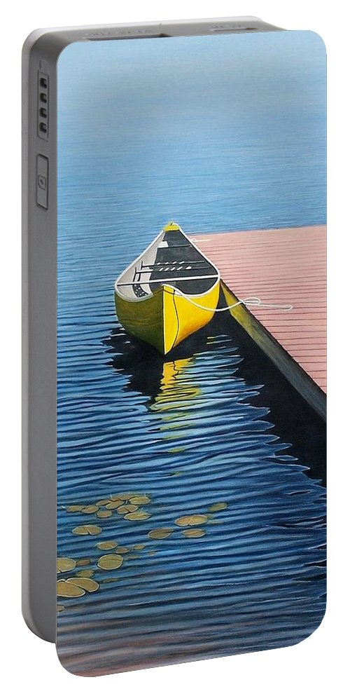 Landscape Paintings Portable Battery Charger featuring the painting Yellow Canoe by Kenneth M Kirsch