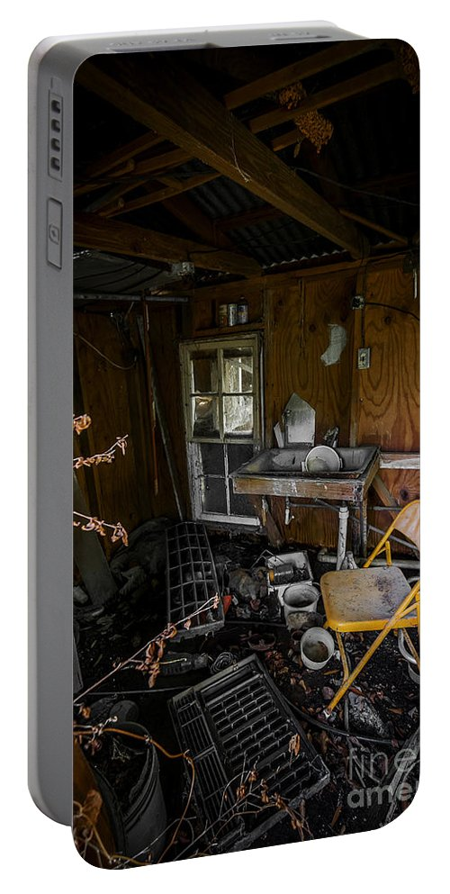 Abandoned Portable Battery Charger featuring the photograph Yellow Chair by Ken Frischkorn