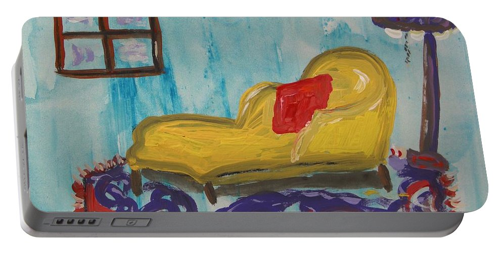 Yellow Chaise Red Pillow Portable Battery Charger featuring the painting Yellow Chaise-red Pillow by Mary Carol Williams