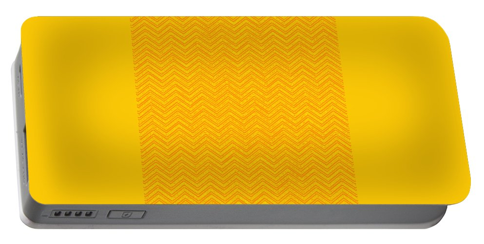 Yellow Portable Battery Charger featuring the digital art Yellow Chevron Waves by Cassie Peters