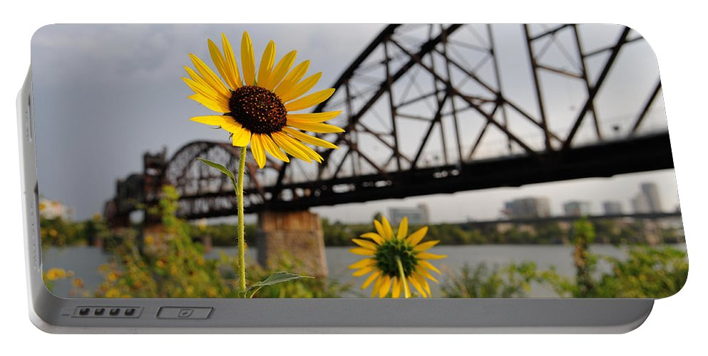 Little Rock Portable Battery Charger featuring the photograph Yellow Cone Flowers And Bridge by Patrick Herrera