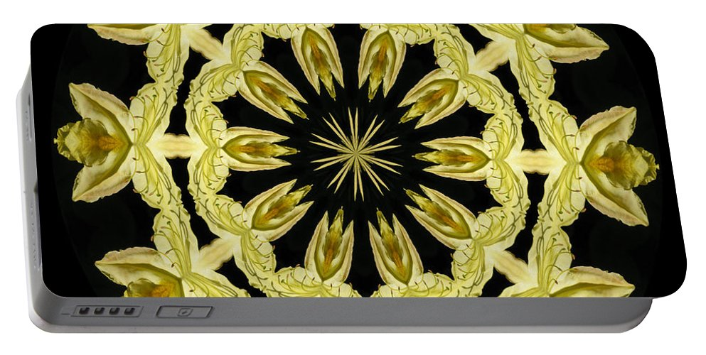 Kaleidoscope Portable Battery Charger featuring the photograph Yellow Fantasy by Lena Photo Art