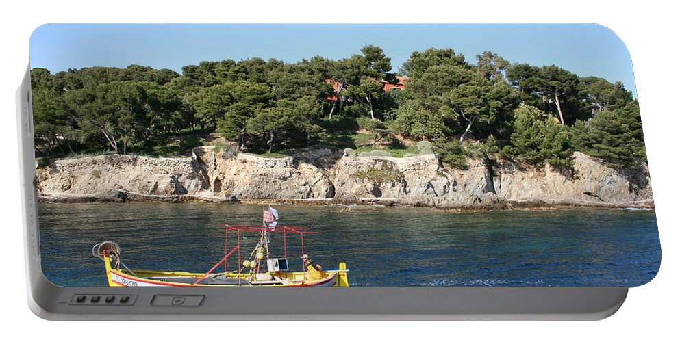 Fishing Boat Portable Battery Charger featuring the photograph Yellow Fishing Boat - Cote D'azur by Christiane Schulze Art And Photography