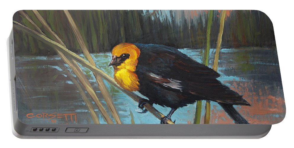 Black Bird Drawings Portable Battery Charger featuring the painting Yellow Headed Black Bird by Rob Corsetti
