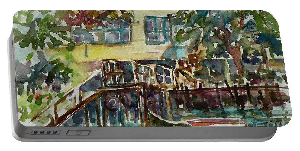 Idyllic Portable Battery Charger featuring the painting Yellow House By The River by Xueling Zou