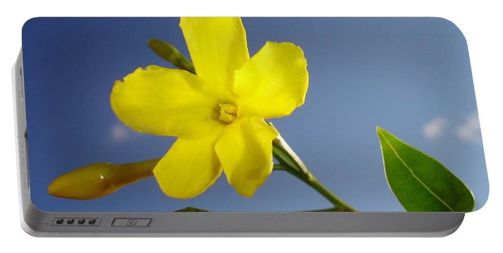 Bud Portable Battery Charger featuring the photograph Yellow Jasmine Flower And Bud Against Blue Sky by Taiche Acrylic Art