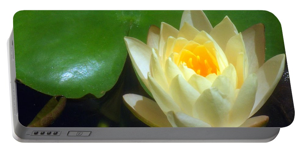 Yellow Portable Battery Charger featuring the photograph Yellow Lily by Jennifer Lavigne