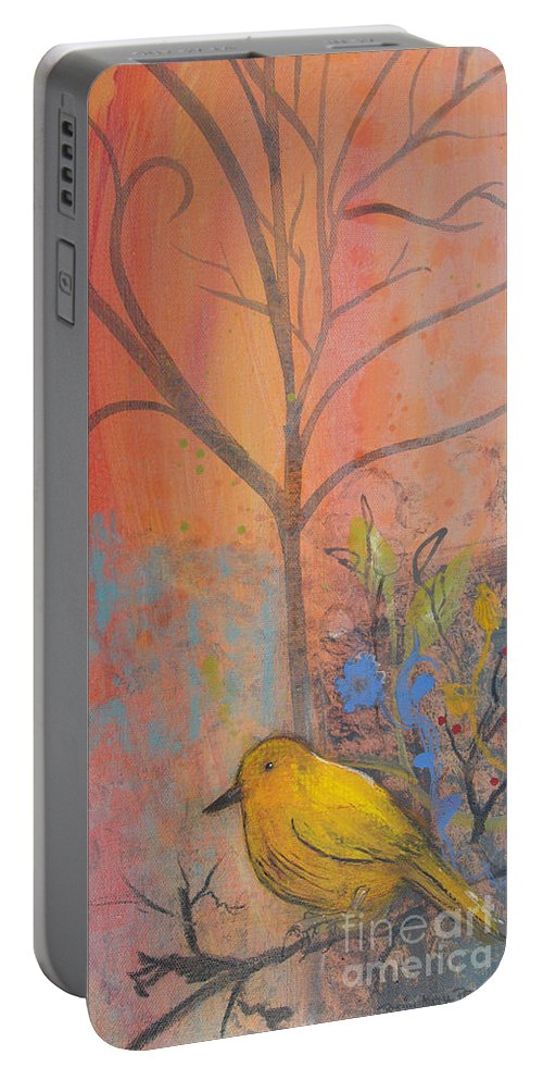 Yellow Bird Portable Battery Charger featuring the painting Yellow Peace Bird On Orange by Robin Maria Pedrero