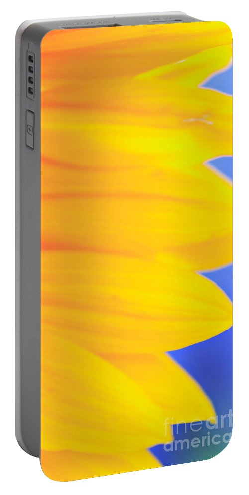 Anther Portable Battery Charger featuring the photograph Yellow Petals Of A Sunflower by Deborah Benbrook