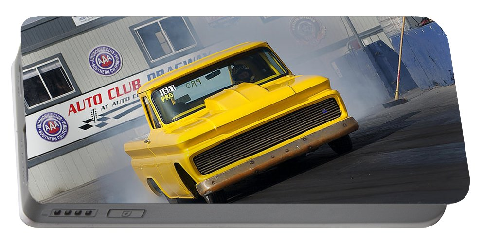 Nova Portable Battery Charger featuring the photograph Yellow Pick Up Truck by Richard J Cassato