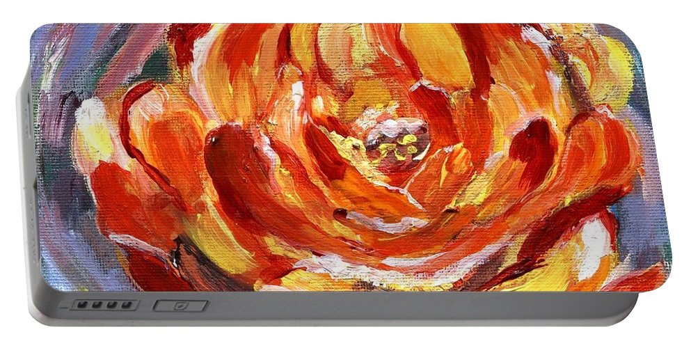 Rose Portable Battery Charger featuring the painting Yellow Rose by Jamie Frier