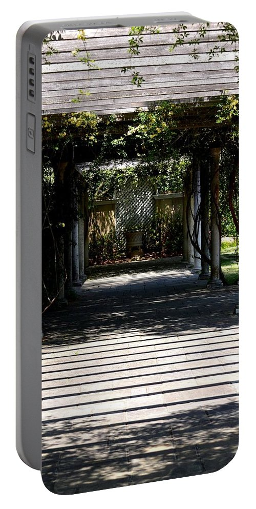 Yellow Rose Pergola Portable Battery Charger featuring the photograph Yellow Rose Pergola by Maria Urso