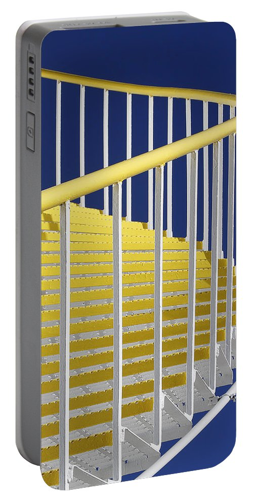 Yellow Portable Battery Charger featuring the photograph Yellow Steps On Tank by Robert Woodward