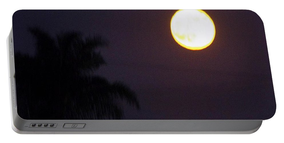 Moon Portable Battery Charger featuring the photograph Yellow Super Moon by Phyllis Spoor