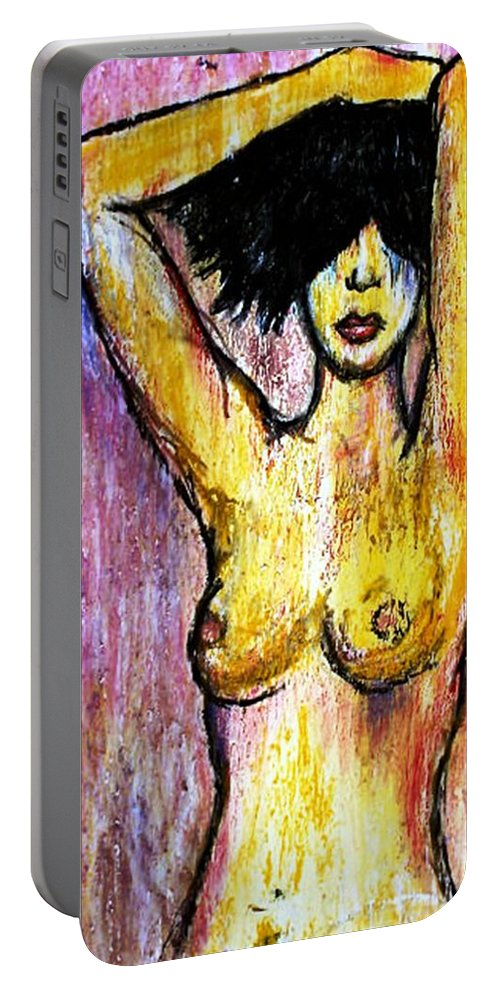 Nude Portable Battery Charger featuring the drawing Yellow by Thomas Valentine