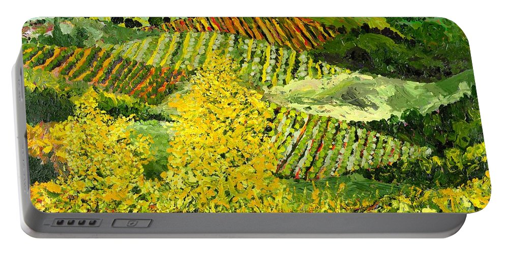 Landscape Portable Battery Charger featuring the painting Yellow Trees by Allan P Friedlander