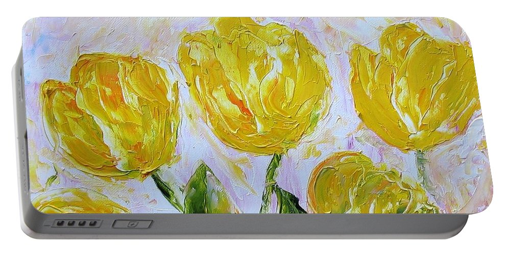 Flowers Portable Battery Charger featuring the painting Yellow Tulips And Butterfly by Galina Khlupina