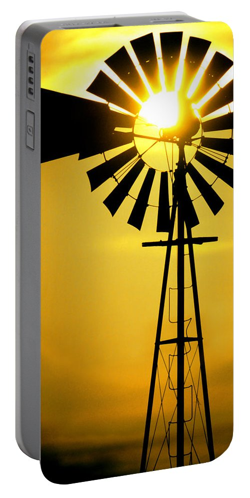 Windmill Portable Battery Charger featuring the photograph Yellow Wind by Jerry McElroy