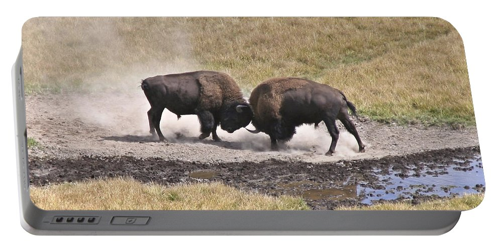 Yellowstone Turf War Portable Battery Charger featuring the photograph Yellowstone Turf War by Wes and Dotty Weber