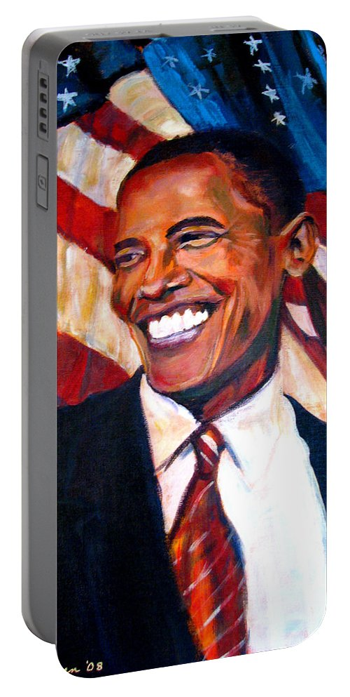 Barack Portable Battery Charger featuring the painting Yes We Can by Art Nomad Sandra Hansen
