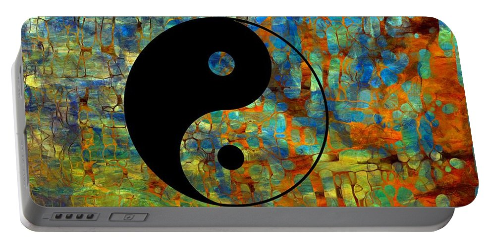 Yin Yang Abstract Portable Battery Charger featuring the digital art Yin Yang Abstract by Dan Sproul