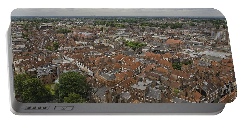 York Portable Battery Charger featuring the photograph York From York Minster Tower II by Pablo Lopez