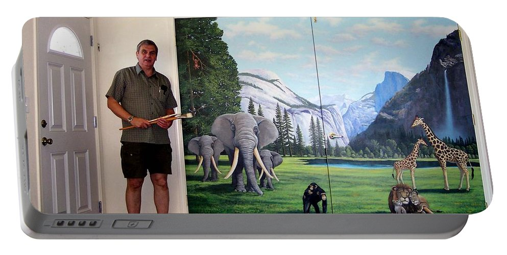 Mural Portable Battery Charger featuring the painting Yosemite Dreams Mural On Doors by Frank Wilson