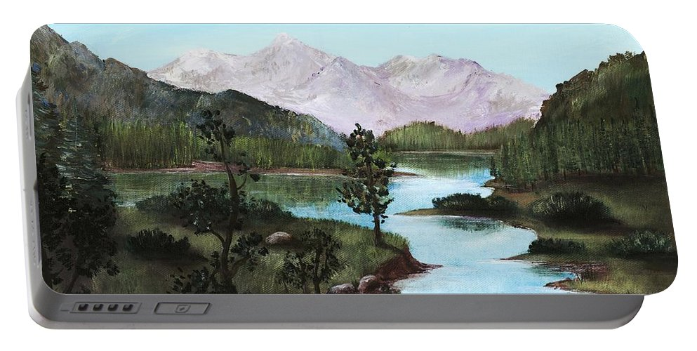 Interior Portable Battery Charger featuring the painting Yosemite Meadow by Anastasiya Malakhova